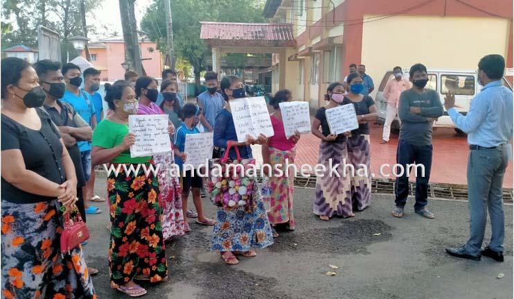 Dozens of Nicobari Residents reach infront of DC office Car Nicobar; Demand Ship from Port Blair